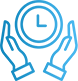 A clock icon used to show that because you learn faster with a private teacher you also save time.